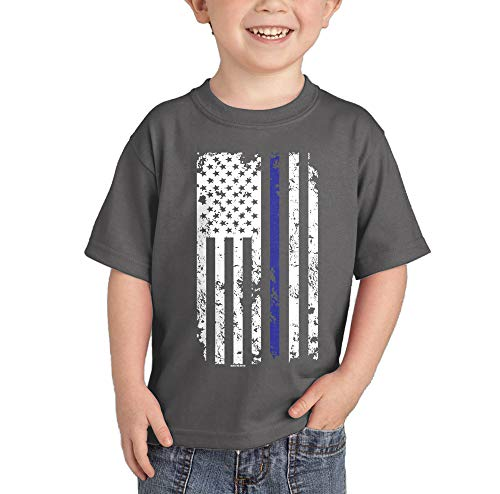 HAASE UNLIMITED Blue Line American Flag - Support Police Infant/Toddler Cotton Jersey T-Shirt (Charcoal, 18 -