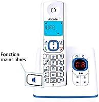 Tel/éfono Alcatel F530 Tel/éfono DECT, Terminal inal/ámbrico, Altavoz, 50 entradas, Identificador de Llamadas, Azul, Blanco