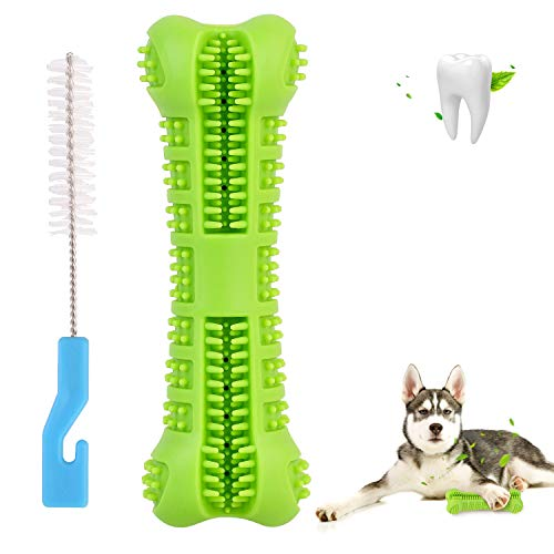 DIDIPET Dog Toothbrush Chew Toy Teeth Cleaning Stick for Puppy Dental Care Doggy 0-45lbs Massager Natural Rubber Bite…