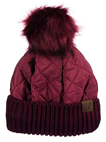 Hat Fur Quilted (C.C Soft Quilted Puffer Detachable Faux Fur Pom Inner Lined Cuff Beanie Hat, Burgundy)