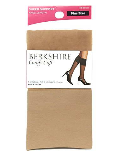 (Berkshire Plus Size Women's Plus Size Queen Sheer Graduated Compression Trouser Sock, Nude, Plus Size)