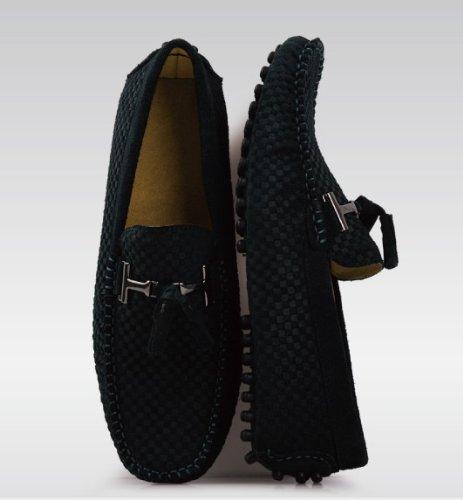 Happyshop (tm) Heren Mocassin Loafers Casual Suède Lederen Schoenen Comfort Slip-on Kwastje Loafer Donkerblauw