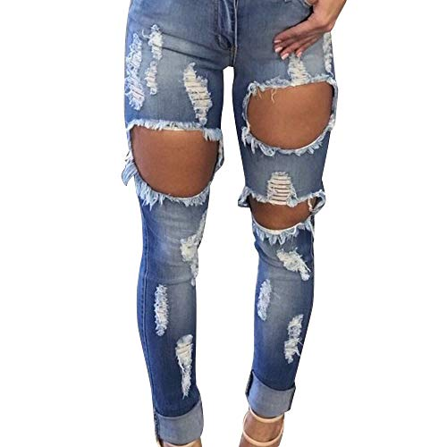 JOFOW Womens Jeans Frayed Ripped Distressed Strech Skinny Slim Straight Leg High Rise Denim Fit Casual Pencil Cropped Pants (M =US:2,Blue)