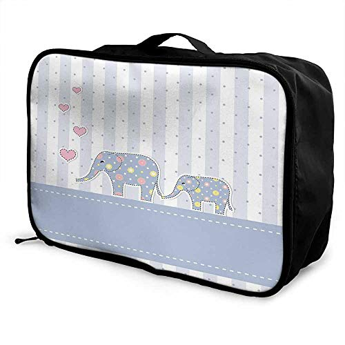 Elephant Nursery Decor Luggage trolley bag Baby Shower Theme Cheerful Newborn Celebration Pastel Toned Striped Waterproof Fashion Lightweight Multicolor