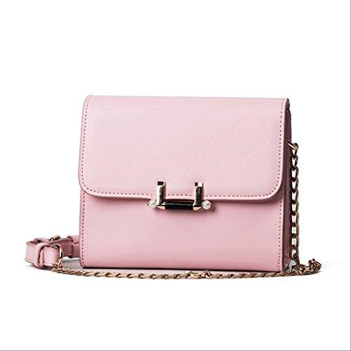 Handbag Versión Coreana de los nuevos Bolsos de la Manera Fresca, Paquete Diagonal Simple del Hombro Salvaje, la Cadena de Bolsos Cuadrados Pequeños. A+ (Color : Black) Pink