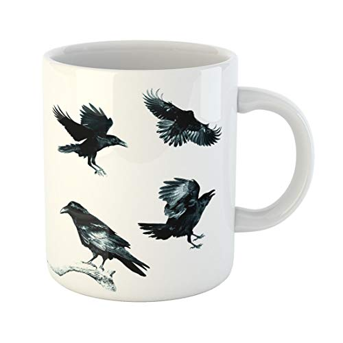 Semtomn Funny Coffee Mug Birds Mix Flying and Perched Common Ravens Corvus Corax 11 Oz Ceramic Coffee Mugs Tea Cup Best Gift Or Souvenir -