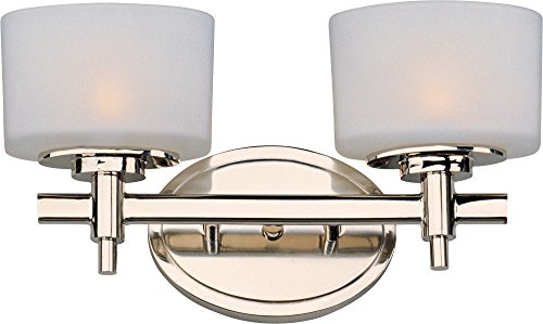 Maxim 9022SWPN Lola 2-Light Bath Vanity Wall Sconce, Polished Nickel Finish, Satin White Glass, G9 Frost Xenon Xenon Bulb , 100W Max., Dry Safety Rating, 2700K Color Temp, Standard Dimmable, Glass Shade Material, 1150 Rated Lumens