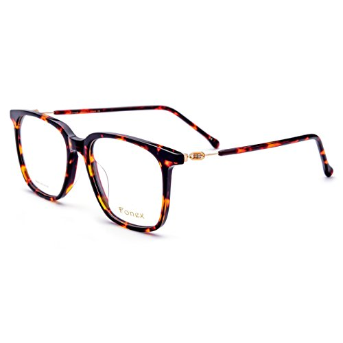 FONEX Prescription Eyeglasses Spectacles Myopia Optical Frames Eyewear TB5203 (leopard, - Round Face Spectacle Frames For
