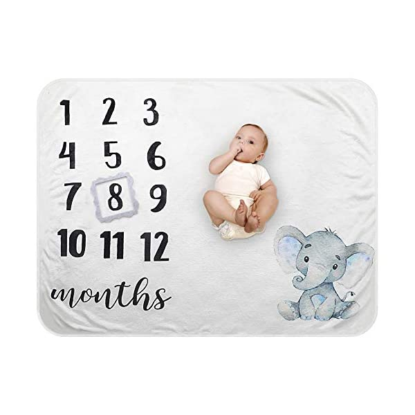 "Baby Monthly Milestone Blanket – Organic Plush Fleece Photography Background Prop for Boy Girl Newborn Baby Shower Gift Soft Elephant Blanket with Frame Large 47""x40"""