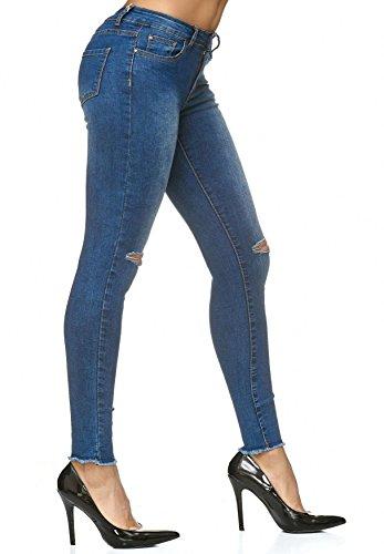 Arizonashopping Jeans Stretch Strappato Distrutto Donna Blu D2235 Pantaloni Ginocchio aadnrq