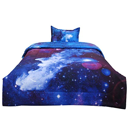 Set One Comforter - uxcell Twin 2-Piece Galaxies Dark Blue Comforter Sets - 3D Space Themed - All-Season Down Alternative Quilted Duvet - Reversible Design - Includes 1 Comforter, 1 Pillow Case