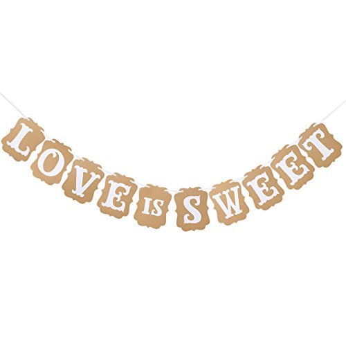 (OULII LOVE IS SWEET Paper Garland Banner Wedding Banner Party Decoration)