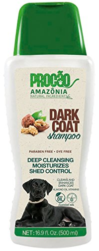 PROCÃO Pet Shampoo Dark Coat Shampoo (16.9 oz) - Add Luster to Dark Coat - All Natural - Sustainably Sourced from Amazon Rainforest - No Parabens or Dyes - Deep Cleaning- Shed Control - Rain Forest Dog Coat