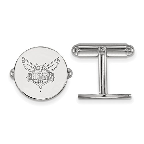 NBA Charlotte Hornets Cuff Links in Rhodium Plated Sterling Silver by LogoArt