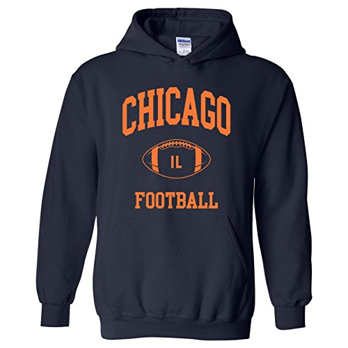Chicago Bears Hoodie - Chicago Classic Football Arch American Football Team Sports Hoodie - 3X-Large - Navy