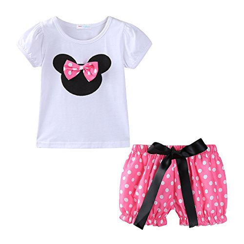 mud kingdom Toddler Girls Holiday Outfits Cute Clothes Short Sets 24M Pink (Minnie Mouse Clothing)