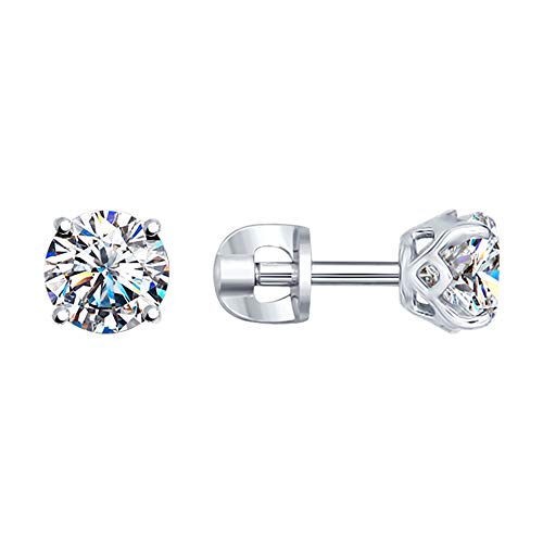 Paradis Love Sokolov Sterling Silver Crown Stud Earrings with Cubic Zirconia Crystal Rhodium Plated