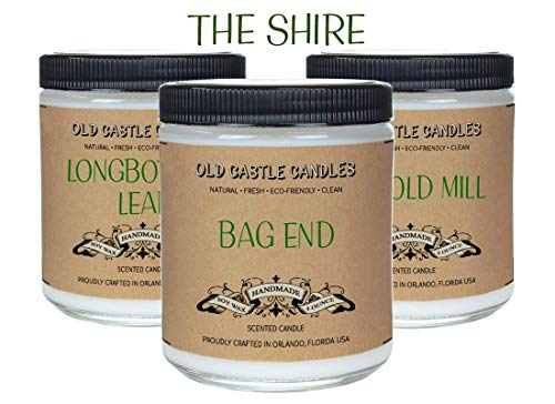 - The Shire Book Candles Set, Literary Lovers Gifts, Bookshelf Decor, (3) 4oz Candles