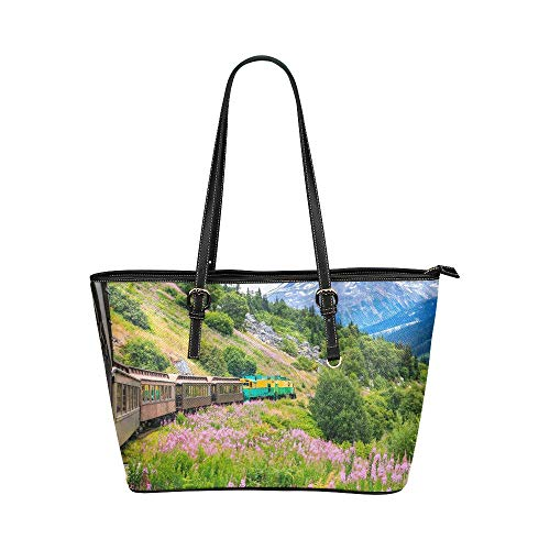 a0a6e2eb3cf3 InterestPrint Fashion Mountains Ombre Gradient Women s Leather Tote Large  Shoulder Bag with Zipper