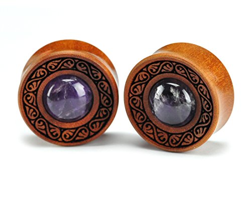 "Laser Engraved Saba Wood Filigree Plugs with Amethyst Inlay (PW-236) - Sold as a Pair (1-1/2"" (38mm))"