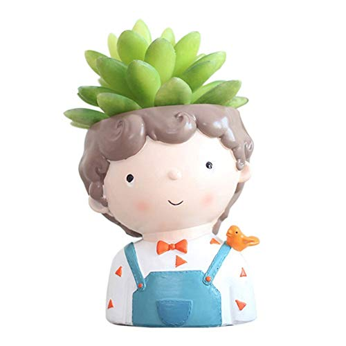 (Youfui Cute Boy Flowerpot Animal Resin Succulent Planter Desk Mini Ornament (Bird Boy))