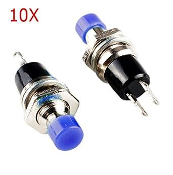 Frentaly® 10 pcs Blue 2 Pin SPST Off-(On) N/O Round Momentary Push Botton Switch 1A 250V AC