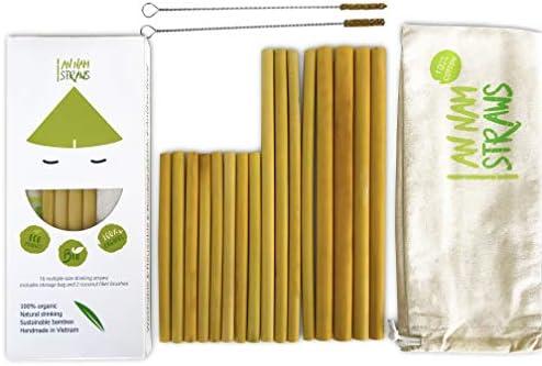 Pajitas reutilizables | Juego de 16 pajitas de bambú de varios ...