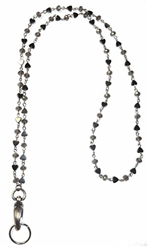 Stainless Steel or Iron Chain Lanyard and badge holder 34 inches, Magnetic Breakaway clasp or Non Breakaway options available (Hematite Chain - NON Breakaway (Stronger))