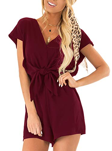REORIA Womens Summer Casual Cap Sleeve Loose V Neck Knot Tie Front Playsuits Short Jumpsuit Beach Rompers Solid Burgundy Small