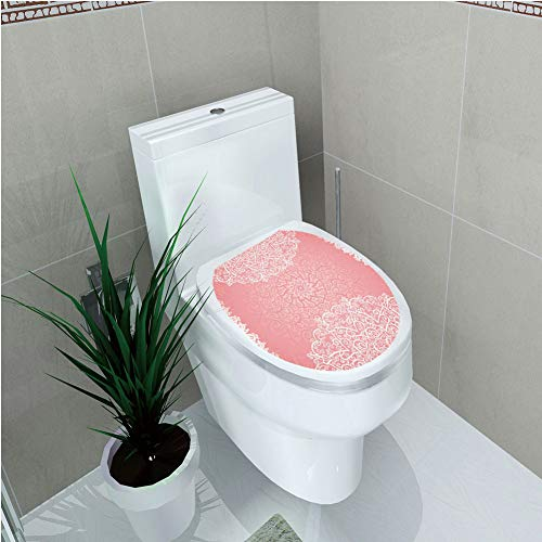Toilet Sticker 3D Print Design,Light Pink,Doily Inspired Cute Lace Style Round Motifs with Ornate Intricate Hearts Decorative,Coral White,for Young Mens,W12.6