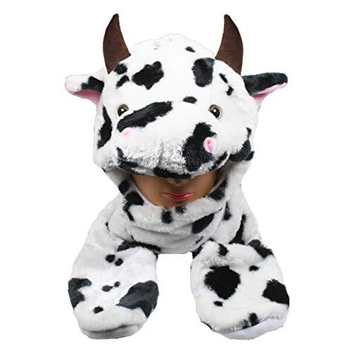 Mittens Cap Earmuff Long Warm Scarf Cartoon Cow Animal Winter Hat -