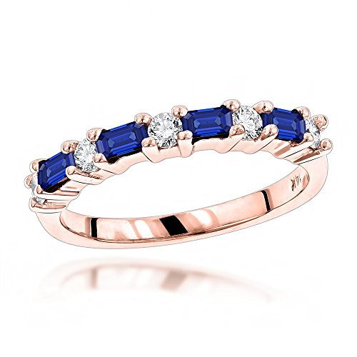 Luxurman Unique 14K Diamond and Sapphire Ring For Women (Rose Gold Size 7.5)