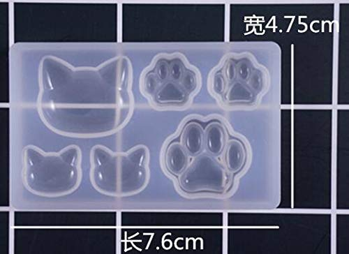 HATCHMATIC Kawaii DIY Tool Cat Head Paw Silicone Molds Epoxy Resin Craft Jewelry Making Mini Heart Moon Star Transparent Mold Resin Charms: cat -