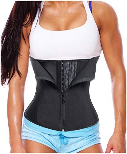 Gotoly Women Latex Waist Trainer Corset Zipper Underbust Cincher Belt Weight Loss Body Shaper (Black, L Fits US 16)