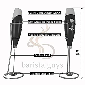 Milk Frother – Coffee Frother Set – Electric Handheld Milk Foamer Frother Wand – Hot Chocolate Coconut Almond Soy Milk Frother With Stand – 16 Coffee Latte Art Stencils and Cocoa Powder Mesh Shaker