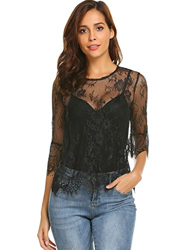 Grabsa Women's Sexy Eyelash Scallop O Neck Sheer Floral Lace Blouse Top Black