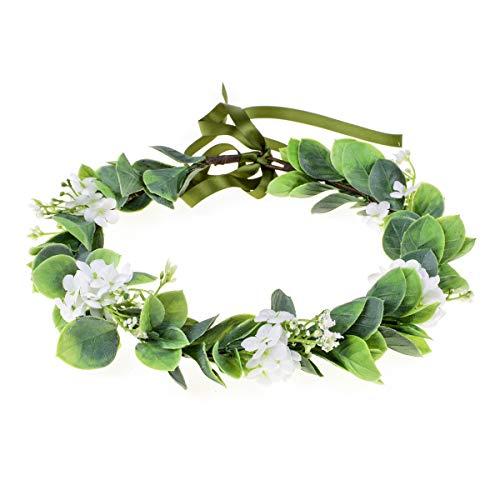 Love Sweety Succulent Flower Crown Eucalyptus Halo Wedding Floral Headband Photo Prop (B-White)