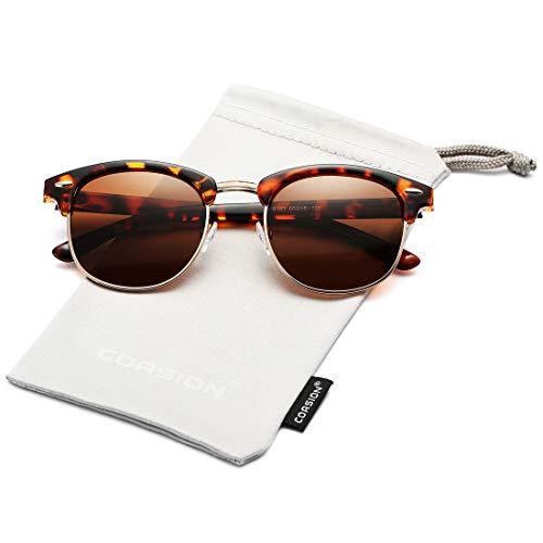 - COASION Retro Semi Rimless Polarized Sunglasses Classic Half Frame UV400 Sun Glasses (Brown Havana Frame/Brown Lens)