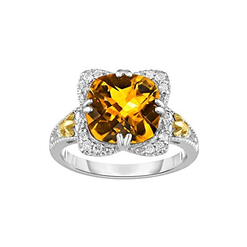 Sterling Silver Rhodium With 18k Yellow Gold - Size 7 Ring 0.12ct Diamond 10mm Cushion Citrine by JewelryWeb
