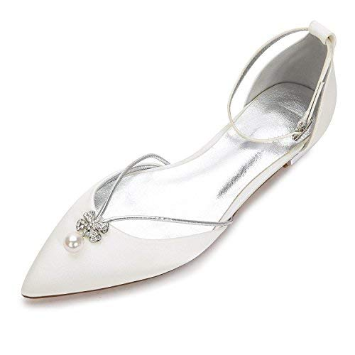 Creativesugar Lady Elegant Pointed Toe Satin Dress Flats Shoes with Pearl and Crystals (9, Ivory)