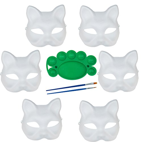 6 Pack Set DIY Full Face Handmade Mask for Halloween Party Cosplay Carnival Masquerade with Two Brushes and One Pigment (Cat Face Paints For Halloween)