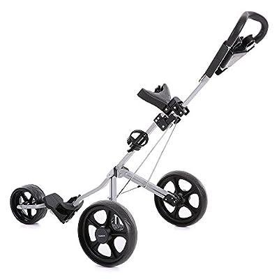 TOMSHOO Golf Cart Foldable 3 Wheels Push Cart Aluminum Pull Cart Trolley with Footbrake System Beverage Holder