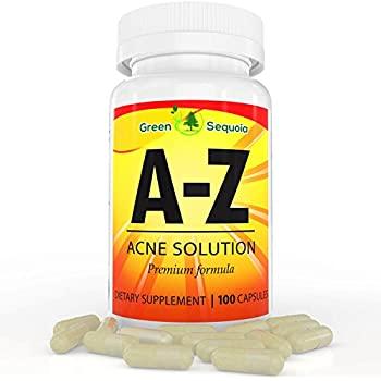 A-Z Acne Supplements for Men, Women and Teens, Hormonal and Cystic Acne Pills, Contains Zinc, Vitamin A and B5, 100 Capsules