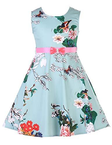 (PrinceSasa Girls Sleeveless Vintage Print Swing Party Dresses,f06C,54''/8-9 Years(Size)