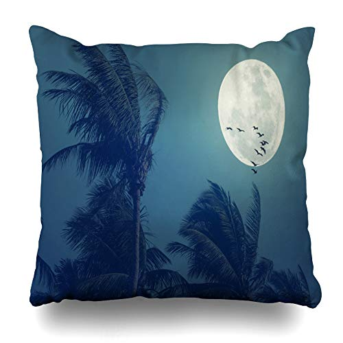 LALILO Throw Pillow Covers, Tropical Night Full Moon Palm Leaf Birds Space Nature Double-Sided Pattern for Sofa Cushion Cover Couch Decoration Home Gift Bed Pillowcase 18x18 inch ()