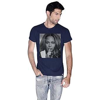 Creo Blue Cotton Round Neck T-Shirt For Men