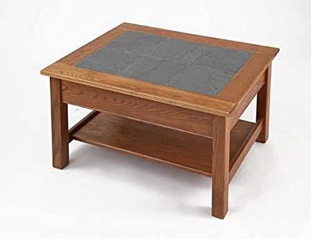 Manchester Wood Slate Top Coffee Table With Shelf Color Golden Oak 7593 3 Furniture Decor Amazon Com