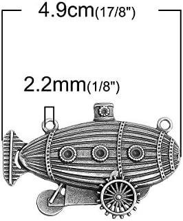 Steampunk Airship Connector Charm Antique Silver Tone Blimp SC7362