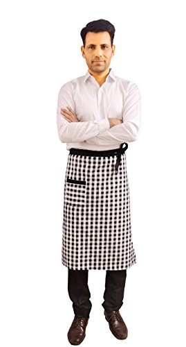 Switchon Waist Checkered Cotton Apron for Home Hotel and Restaurants