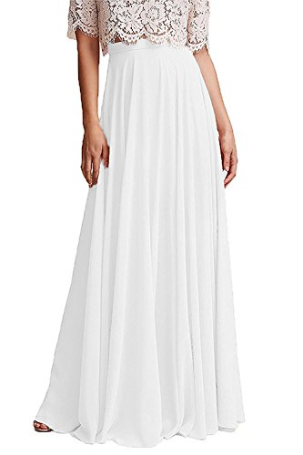 Omelas Women Long Floor Length Chiffon High Waist Skirt Maxi Bridesmaid Pary Dress (White, XL) ()
